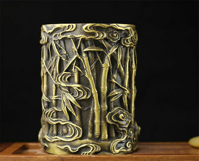 Chinese Dynasty palace Silver Carving statute bamboo Brush Pot pencil vase TT247