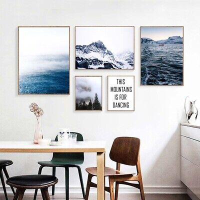 Nordic Style Sea Mountain Landscape Canvas Painting Art Wall Print Poster Decor