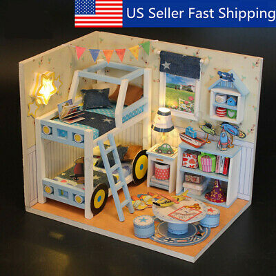 DIY Wooden Kids Dolls House LED Room Miniature Kit Play Toys Home Gifts USA