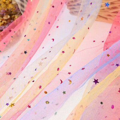 Sequins Rainbow Mesh Tulle Fabric Sheer Glitter Tutu Skirt Stage Adorn By Metre