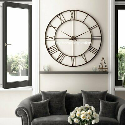 New Stunning Extra Large Skeleton Industrial Framed  Antique Brown Wall Clock