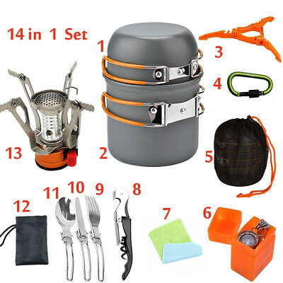 14 in 1  Gas Camping Stove Butane Propane Burner Outdoor Picnic Hiking Cookware