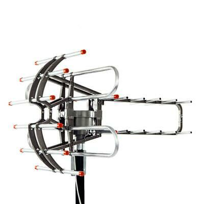 150Miles Outdoor 1080P Amplified TV Antenna HD TV UV 36dB Rotor 360°HDTV + Cable