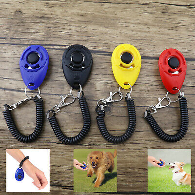Portable Puppy Button Dog Pet Clicker Click Training Obedience Aid Wrist Strap