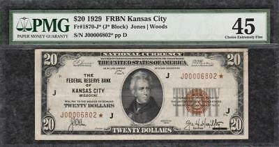 *TOP POP 1/0 STAR NOTE* 1929 $20 Kansas City FRBN - PMG Extremely Fine XF45 C2C