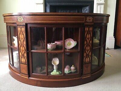 Antique Vintage Unusual Mahogany Display Cabinet With Rosewood Inlay Semi Circle
