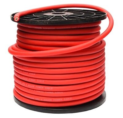 4 AWG GAUGE 25mm² OFC OVERSIZED RED CABLE PER METRE PURE COPPER FLEXIBLE WIRE