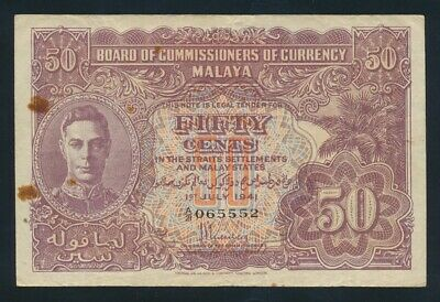 """Malaya: WWII 1-7-1941 (1945) 50 Cents KGVI Type 3 RARE LUCKY NO """"555"""". P10a VF"""