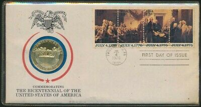 USA 1976 Commemorating Sterling Sil Bicentennial Medallic 1st Day Cover Only