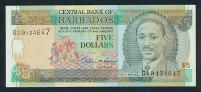 "Barbados: 1996 $5 Sig Springer ""CRICKETER SIR FRANK WORRELL"" Pick 47 UNC Cat $50"