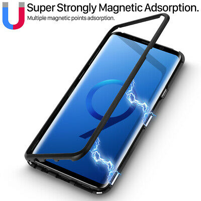 For Samsung Galaxy Note 9 8 S9 Plus Magnetic Bumper Tempered Glass Case Cover AU