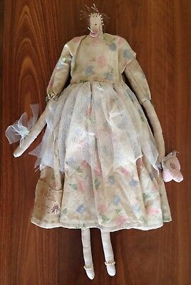 Brand New Handmade 'shabby Chic' Doll Vintage Fabric & Buttons, Hand Embroidered