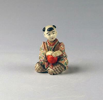 Antique 19C Meiji Japanese Chin Jukan Satsuma Karako Chinese Boy Okimono Figure