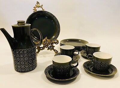 Connemara Celtic Irish Earthenware Mid Century Coffee Pot Cups Saucers Plates