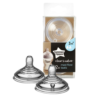 Tommee Tippee Closer To Nature 2x Medium Flow Bottle Teats 3m+ BPA Free