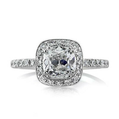 1.70 Ct Diamond Engagement Rings Solid 14K White Gold Ring Cushion Cut Offer