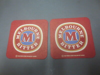 """2 only MELBOURNE BITTER  / BREWERY,  collectable BEER COASTERS, """" rare """""""