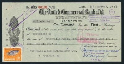 """Australia: Singapore 1963 United Commercial """"RARE £A582/6/- DRAFT"""" + Duty Stamps"""