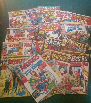 MARVEL UK  20 x  The Avengers Comics  and various titles  nice condition  1970's