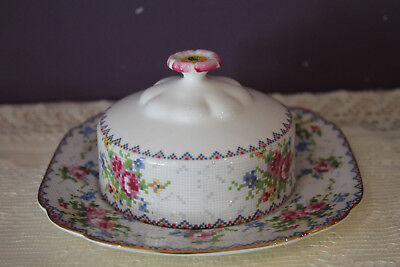 Royal Albert Petit Point Covered Butter Dish And Square Plate Bone China England