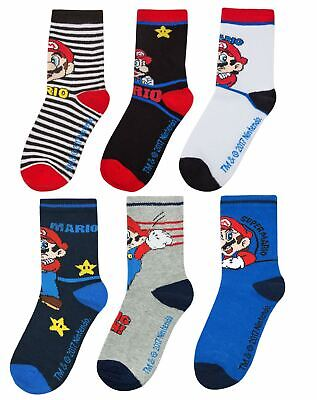 Super Mario Boys Assorted 6 Pack Multi-coloured Sock Set