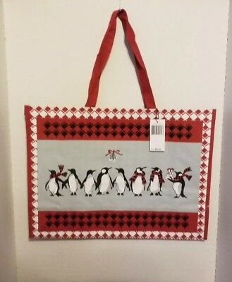 740b438224 Vera Bradley Market Tote in Playful Penguins Red Pattern Reusable Tote NWT