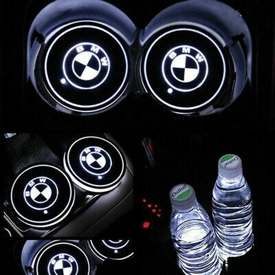 2x LED Car Cup Holder gloss Pad with USB BMW Auto Interior Atmosphere Lights