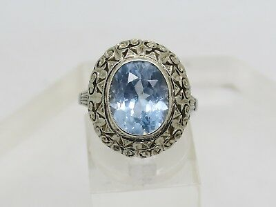 DAMAGED THIN 14k White Gold Oval Blue Spinel Ornate Vintage Setting Ring Sz 9.25