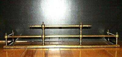ANTIQUE VICTORIAN STICK & BALL STYLE OF ORNATE BRASS FIREPLACE FENDER. 3 Ft WIDE