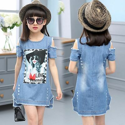 Kids Baby Cute Girls Summer Dress Denim Casual Skirt Fashion Princess Dresses