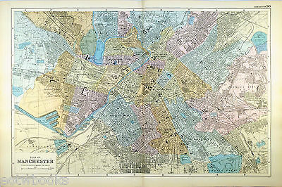 Original Large Antique Map of  MANCHESTER  -  G.W.BACON  -  1898.