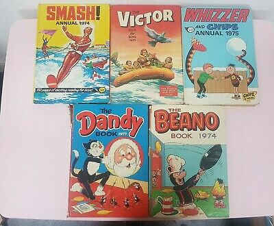 Bundle of 5 Annuals 1974-1977 Smash, Victor, Whizzer, Dandy and Beano