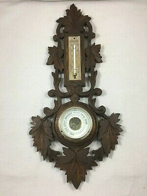 Antique French wall black forest barometer thermometer carved wood