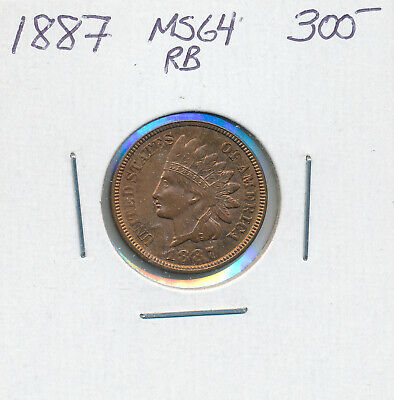 Usa Small Cent 1887 - Choice Unc With Lots Of Original Redness