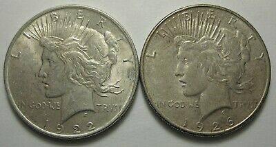 (2) Peace SILVER Dollars 1926-S & 1922  Great Investment at this Price!!