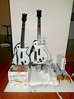 Nintendo Wii: RVL-001 Console: BUNDLE; 2 Guitars + 10 Games + More see pictures
