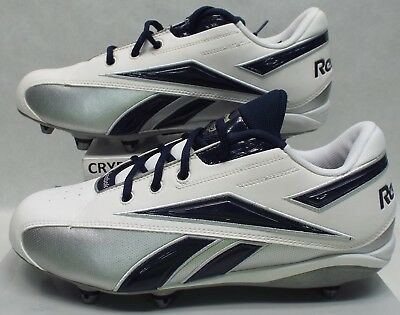 60f838bb3 New Mens 9 Reebok RBK NFL Thorpe Mid D Navy Whit Silver Football Cleats  Shoes