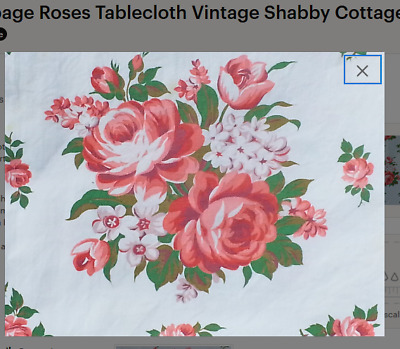 Pink Cabbage Roses Tablecloth Vintage Shabby Cottage Chic 1950s Cotton Sailcloth