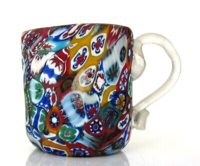 Vintage Murano Art Glass Tightly Fused Together Millefiori Cup Fratelli Toso