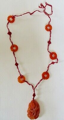 Vintage or Antique Chinese Carnelian & Macrame necklace.