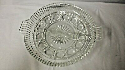 Older Indiana Clear Glass Windsor Handled Divided Relish Dish or Server