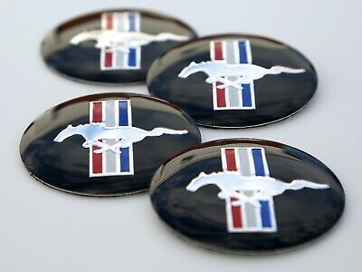 """4x FORD MUSTANG Wheel Center Hub Cap Sticker Decal 2.2"""" DOME SHAPE"""