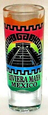 Tall Shot Glass Riviera Maya Mexico Colorful With Leather Sleeve