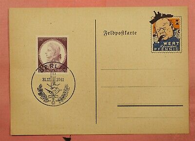 1941 Germany Wert Kernen Pfennig Berlin Pictorial Cancel Postcard