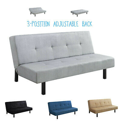 MODERN FOLDING TUFTED Convertible Futon Sofa Bed Sleeper Adjustable ...