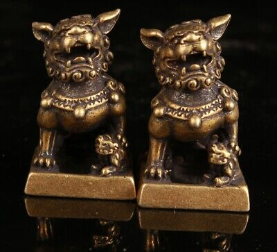 2  Exquisite Chinese Bronze Hand Carving Lion Statue Decorative Gift Collection