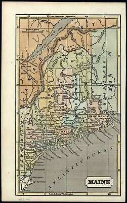 Maine state by itself Treaty 1783 Boundary 1853 Ensign Phelps cerographic map