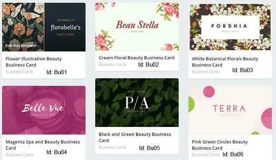 100 Beauty Business Cards custom One sided printing with free design