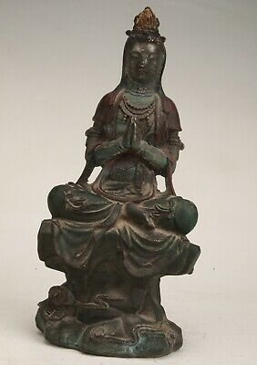 Chinese Bronze Hand Carving Guanyin Statue Decorative Gift Collection