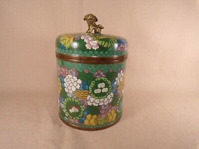 Antique Chinese Japanese Cloisonne Enamel Copper Ginger Jar Foo Dog Lion Finial